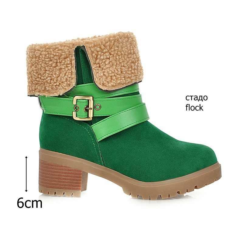 EGONERY kış kar botları moda kadın patik serin yeşil gri siyah peluş çizmeler 2019 marka 6cm yüksek topuklu kadın ayakkabısı