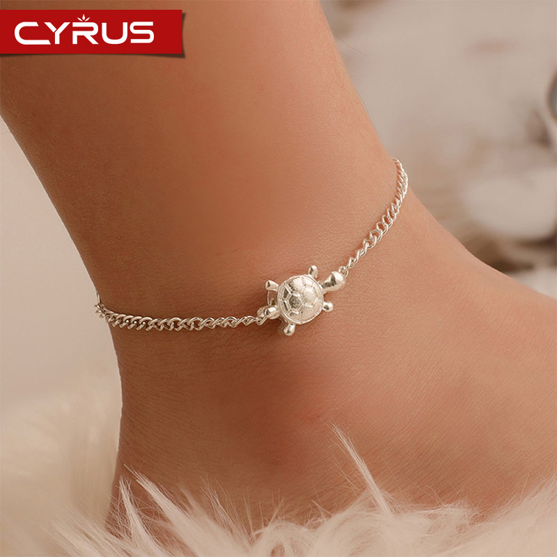 Bohimia Silver Color Sea Turtles Anklet Vintage For Women Summer Beach Boho Jewelry On Leg Chain Ocean Jewelry Simple Femme Gift