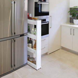 Movable Plastic Interspace Storage Rack Refrigerator Space Rack with Roller Shelves Kitchen Bathroom Strollers Interval 4-layer