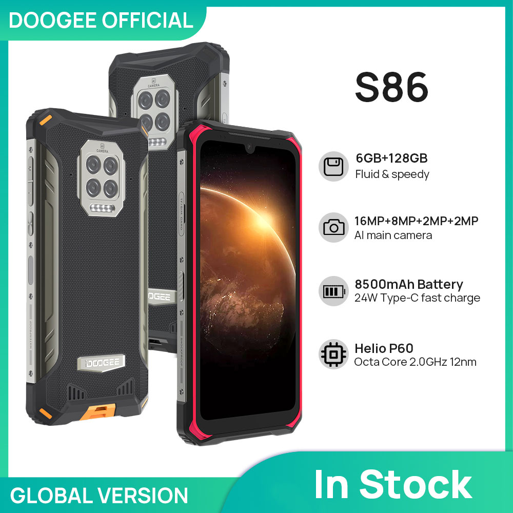 DOOGEE S86 прочный смартфон 6 ГБ + 128 Гб 8500 мАч супер Батарея смартфон IP68/IP69K мобильный телефон HelioP60 Octa Core Android 10
