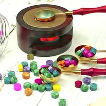 Vintage sello de cera palillos con cuentas calentador cera palos derretimiento pegamento horno/Herramienta cuchara olla de horno para el sello de cera de la vela