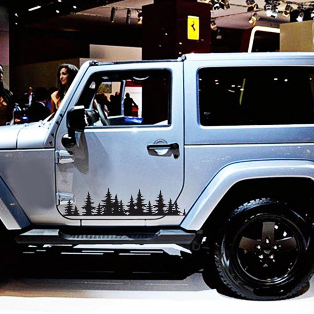 100 см черный/белый дерево горный автомобиль Декор PET наклейка с изображением леса Авто Наклейка для SUV RV Camper внедорожный автомобиль Стайлинг ...