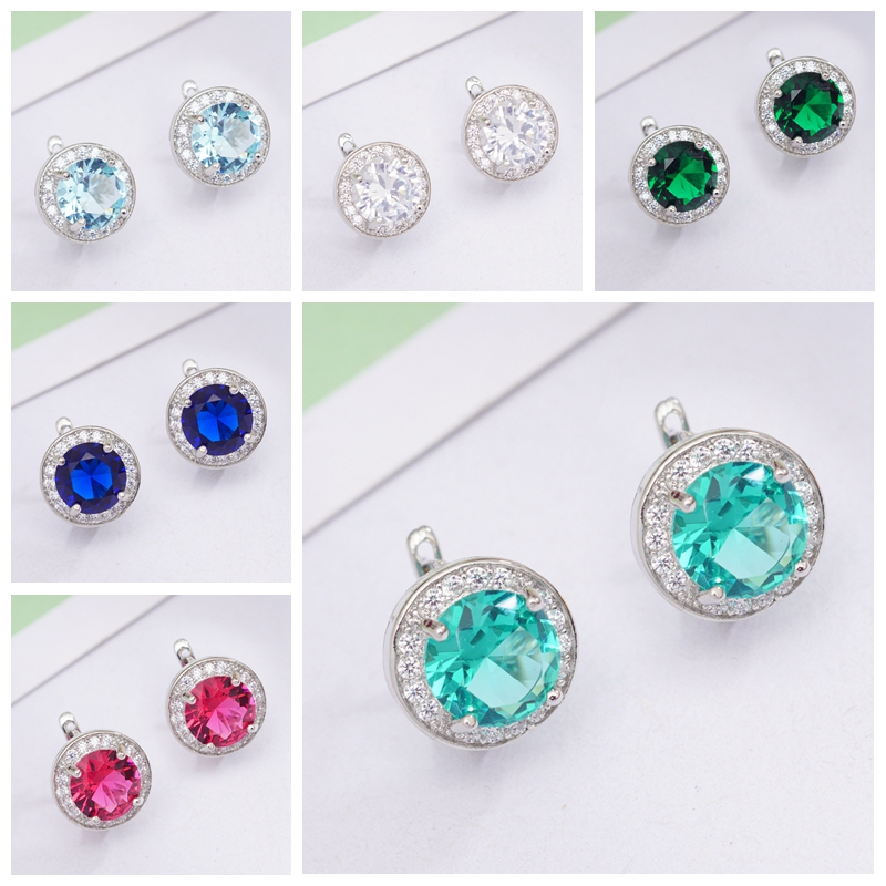 6 Colors Fashion Circle Earrings Round Cubic Zirconia Classic Hoop Earrings For Women OL Style Statement Earrings Wholesale