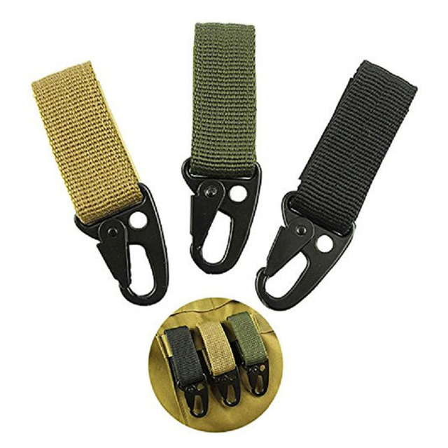 Molle Military Bag Accessory QD Buckle Metal Hook Tactical Backpack Keychain with Strong Metal Hook Loop for Belt Harness Vest 1