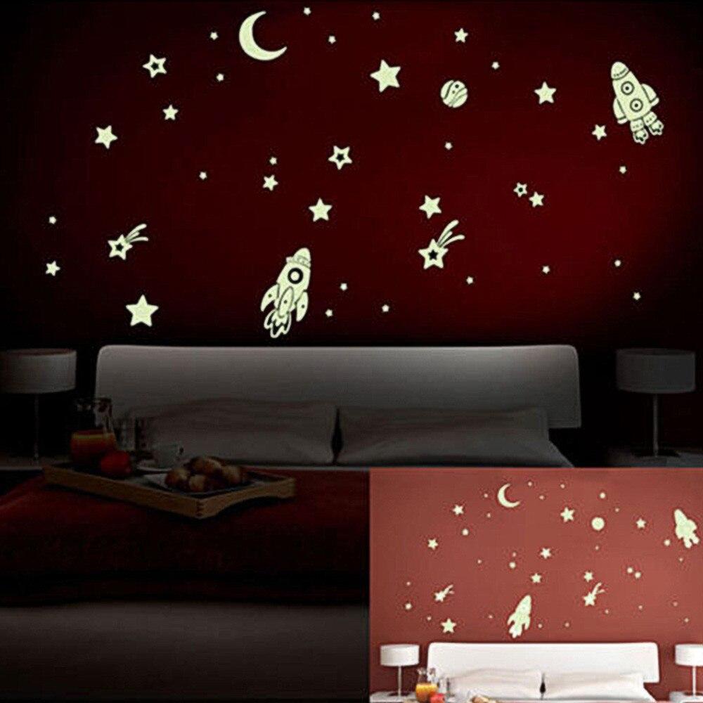 Autocollant mural en PVC créatif | Bricolage, scintillant dans la nuit, étoiles, planète fusée, décoration murale, chambre d'enfants, 2020