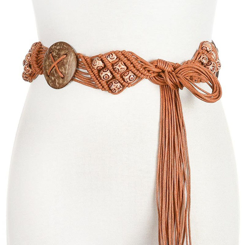Ethnic Style Wax Rope Woven Beach Bohemian Ladies Thin Rope Flower Plant Knit Belt Ladies Dress