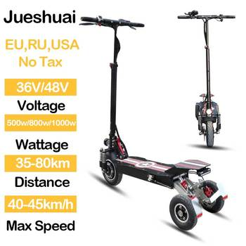 """Patinete eléctrico de tres ruedas, Patinete eléctrico de 36V, 48V, 500W/800W/1000W, patín plegable con rueda delantera de 10 """"para adulto"""