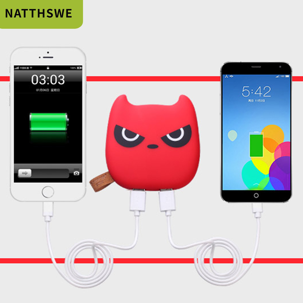 Image 5 - NATTHSWE Mini 3600mAh Capacity Mobile Power Bank Cute Expression Small Devil Chinchillas Polymer External BatteryPower Bank   -