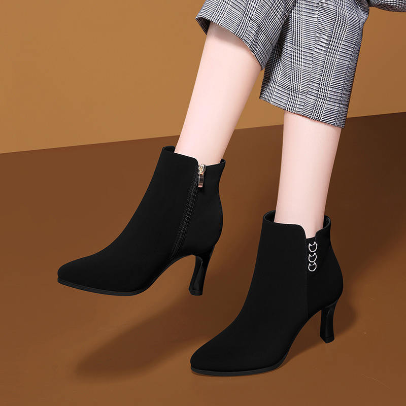 Suitable For Autumn & Winter Solid Color WOMEN'S Shoes 2019 Gucci New Style Short Boots High Heel Boots Martin Boots Women's