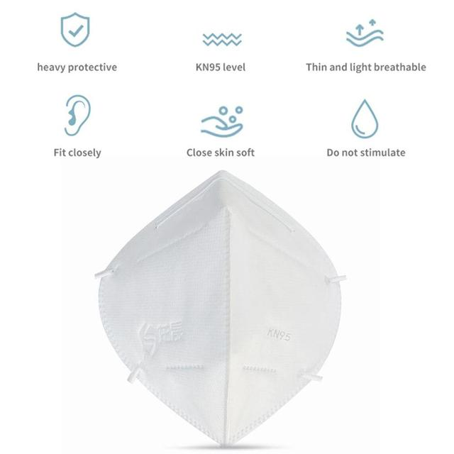NEW N95 Mask Anti-Fog Disposable Dust Mask High Efficiency Filtration Efficient Barrier 3D Fitting White 2Pcs 3