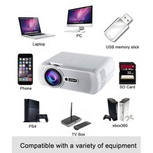 LESHP Portable Multi-media LED Video Projector 1080P HD 1200 LM with Keystone fo