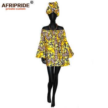 African summer Dress with head wrap for women dashiki print flare Sleeve Plus Size kanga clothing AFRIPEIDE S1925042