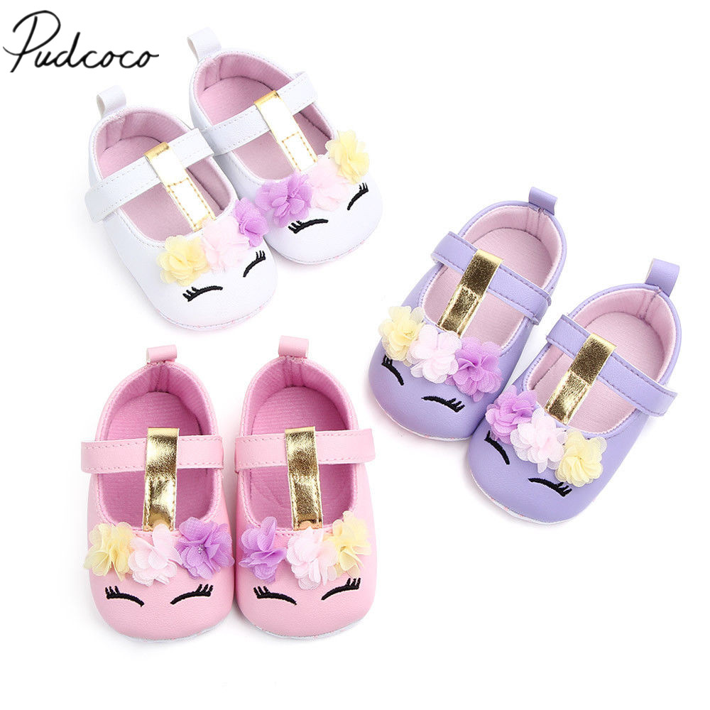 Toddler Newborn Baby Girls Flower Unicorn Shoes Soft PU Leather Shoes Sole Crib Shoes Spring Autumn Pre-walker 0-18M