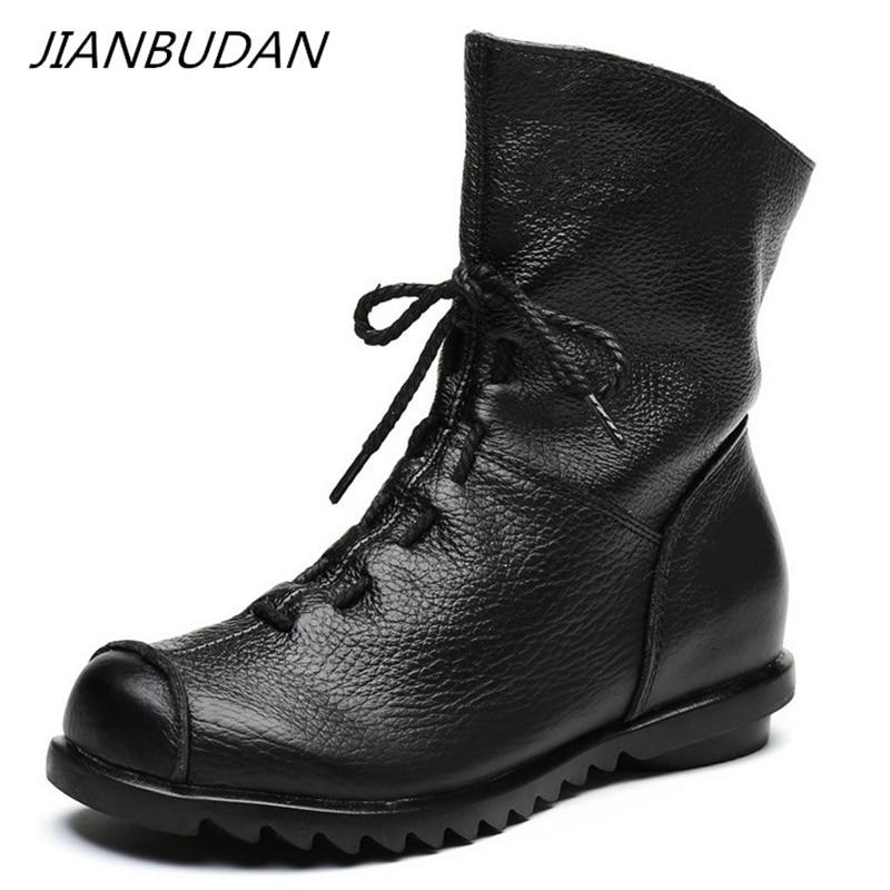 JIANBUDAN/ Genuine Leather Plush women's short Boots Retro Casual Autumn Winter Women's Boots Waterproof leather warm Snow boots