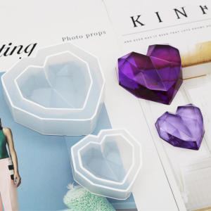 3D Diamond Love Heart Dessert Cake Silicone Mold Mousse Baking Pastry Decoration Handmade Crystal Epoxy Resin Cake Candy Moulds(China)