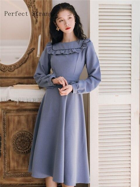 2019 Autumn New Arrival Leisure Round Collar Ruffles Long Sleeve Woman Long Dress Blue 3