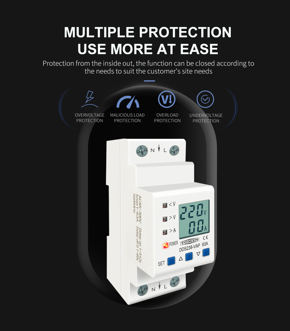 H84bc8730acd6469d830aa5630a097a06X - 63A 80A 110V 230V Din rail adjustable over under voltage protective device current limit protection Voltmeter ammeter Kwh