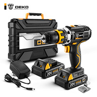 DEKO GCD20DU2 20V MAX Cordless Drill Lithium Ion Battery Electric Screwdriver Mini Power Driver Variable Speed with LED Light
