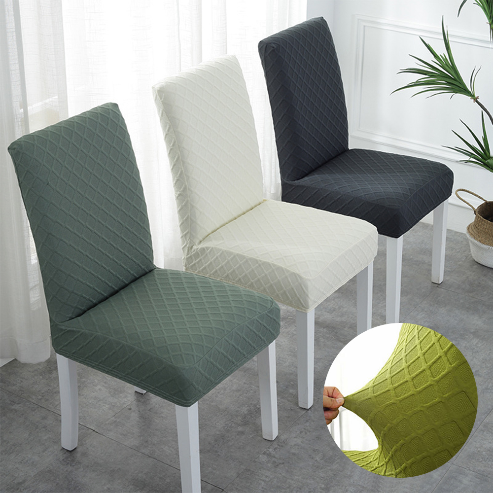 2020 New Double Jacquard Stretch Elastic Slipcovers Solid Color Chair Cover For Dining Room Wedding Banquet Furniture Protector
