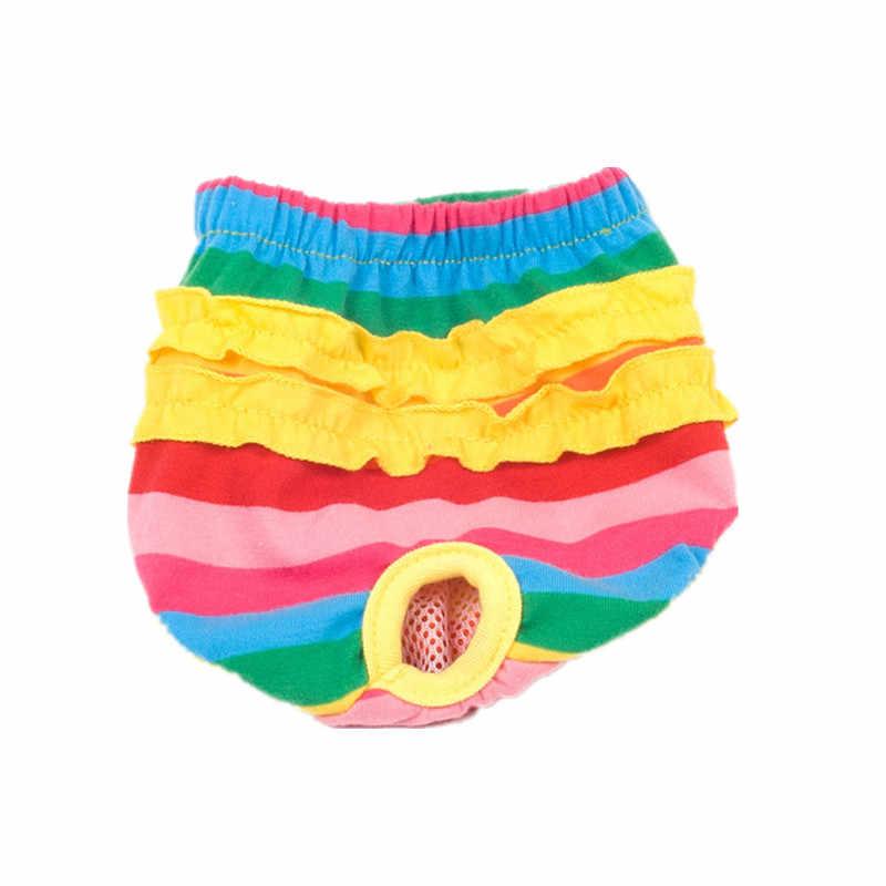 หญิงสุนัขกางเกงขาสั้นPuppyสรีรวิทยากางเกงกางเกงกางเกงลูกไม้สายรุ้งสัตว์เลี้ยงชุดชั้นในWashable MenstruationกางเกงJumpsuitสำหรับสุนัขสาว