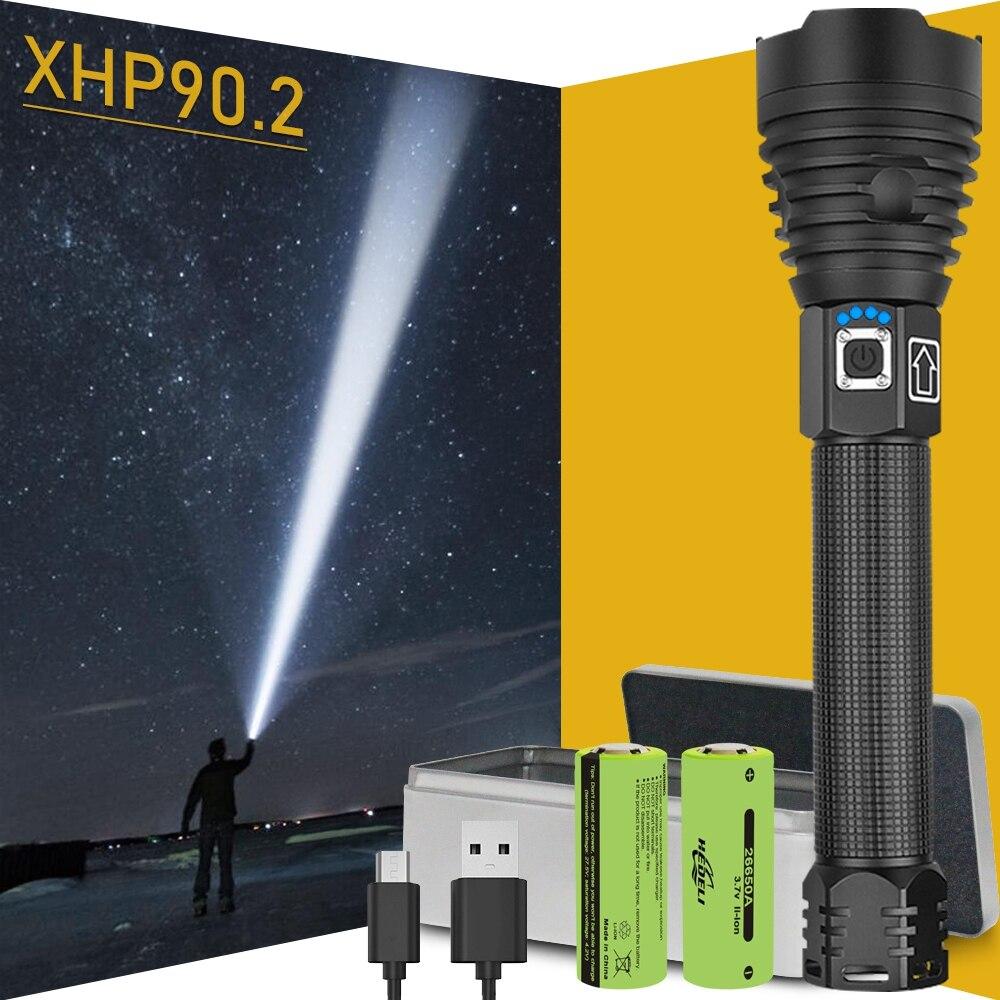 300000 LM xhp90.2 ส่วนใหญ่ไฟฉาย LED ที่มีประสิทธิภาพไฟฉาย USB XHP50 ชาร์จไฟฉายยุทธวิธี 18650 หรือ 26650 โคมไฟ XHP70