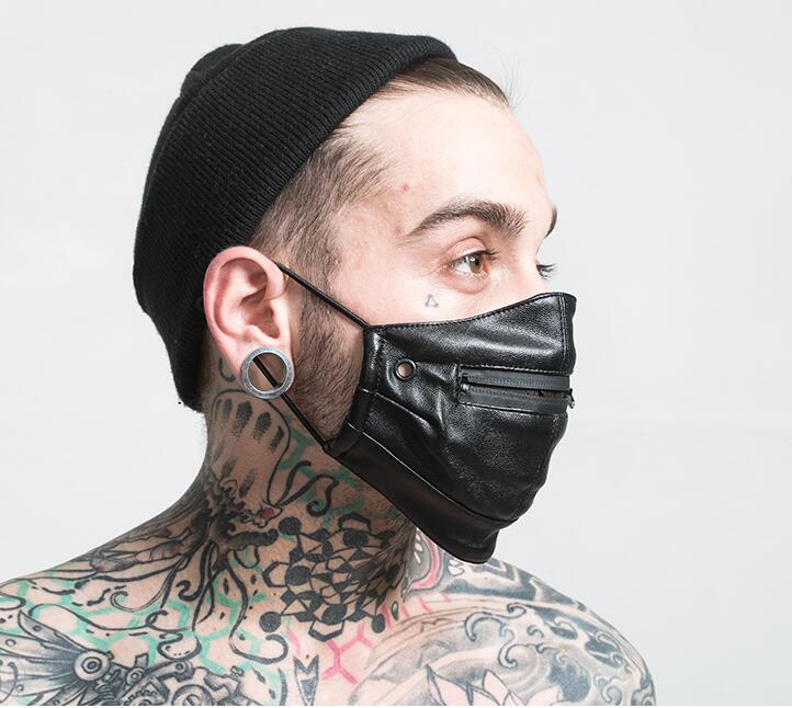 Men Women's Windproof Waterproof Zipper Punk Mask Lady's Cotton Lining Hip Hop PU Leather Mouth-muffle R2720