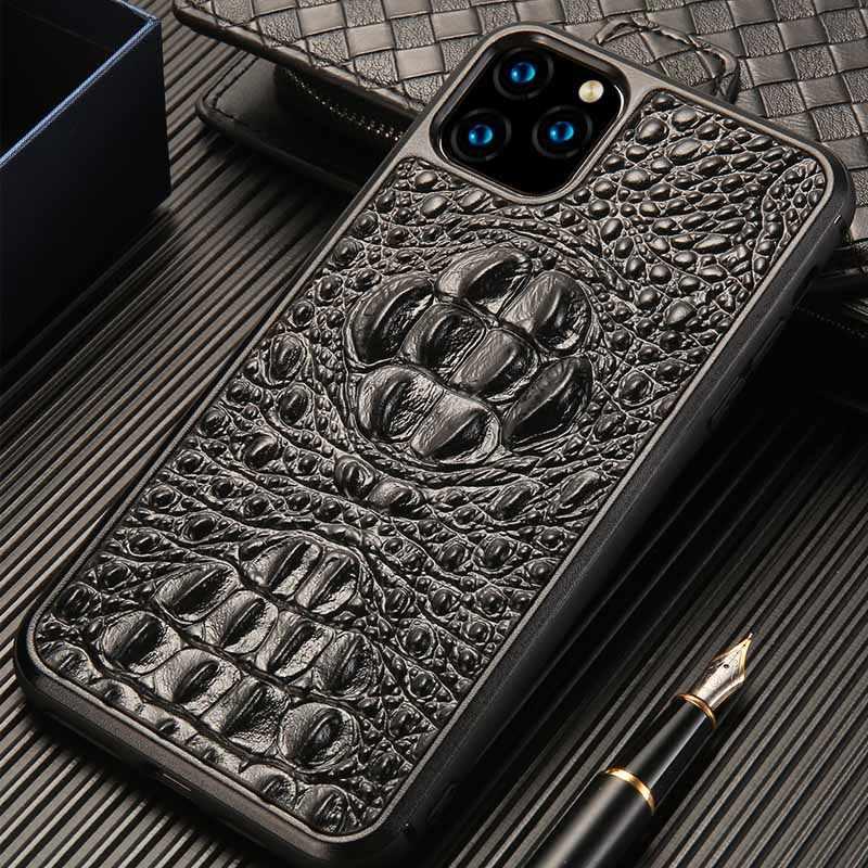 Echt Leer 3D Krokodil schedel telefoon case Voor iPhone 11 11 Pro 11Pro max 6 6S 7 8 7plus 8plus X XS XS max XR Anti-val Cover