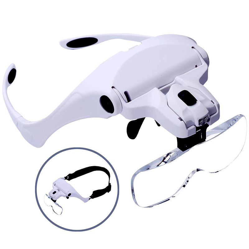 Microblading Headband Magnification Goggles Magnifying Glasses LED Light Permanent Makeup Magnification Goggles And 5 Set Lenses