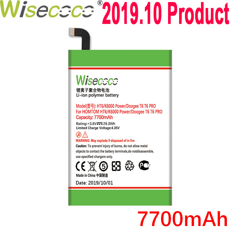 WISECOCO 7700mAh Battery For DOOGEE T6 T 6 <font><b>PRO</b></font> / <font><b>HOMTOM</b></font> HT6 / Oukitel K6000 / Ulefone Power Phone New Product +Tracking Number image