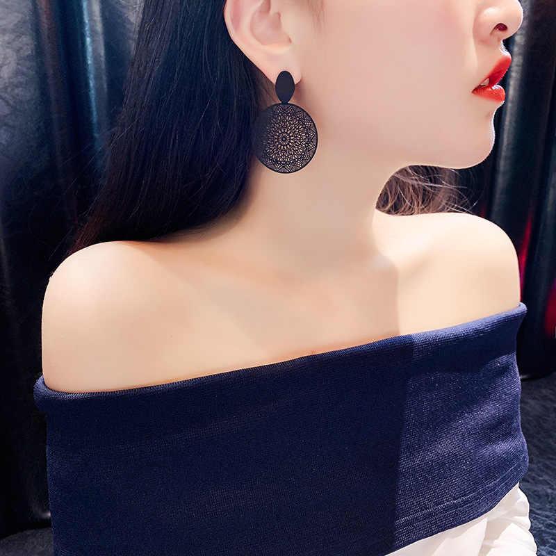 2020 패션 럭셔리 간단한 빅 라운드 귀걸이 여성 패션 한국어 스타일 중공 메쉬 드롭 귀걸이 성명 쥬얼리