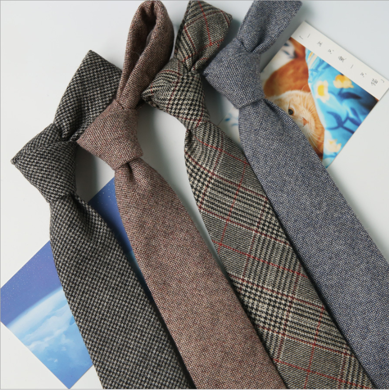 New Men Ties 7cm Wool Arrow Cravate Homme Korean Business Leisure Formal Ties For Men Handmade