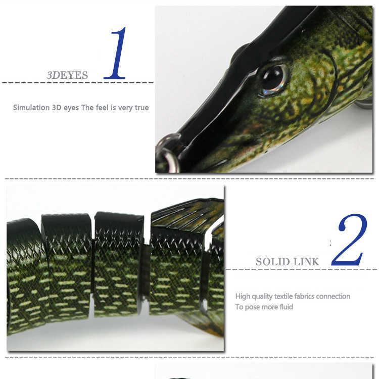 Leurre coulant composé de 8 sections articulées et vibrant, appât artificiel de type poisson nageur, Wobbler, grande taille, 20cm, 67g