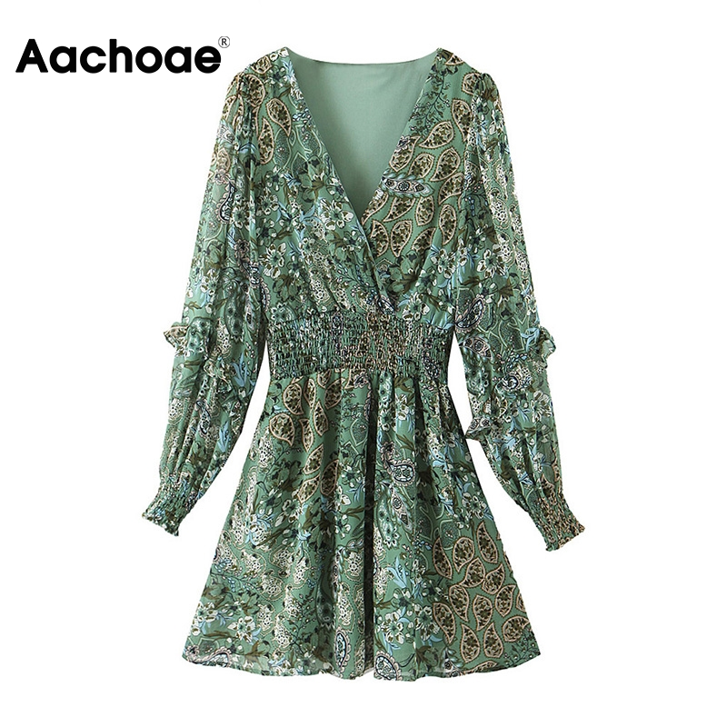 Aachoae Women Vintage A Line Mini Dresses Floral Print Ruffle Long Sleeve Party Dress Female Casual V Neck Boho Beach Dress