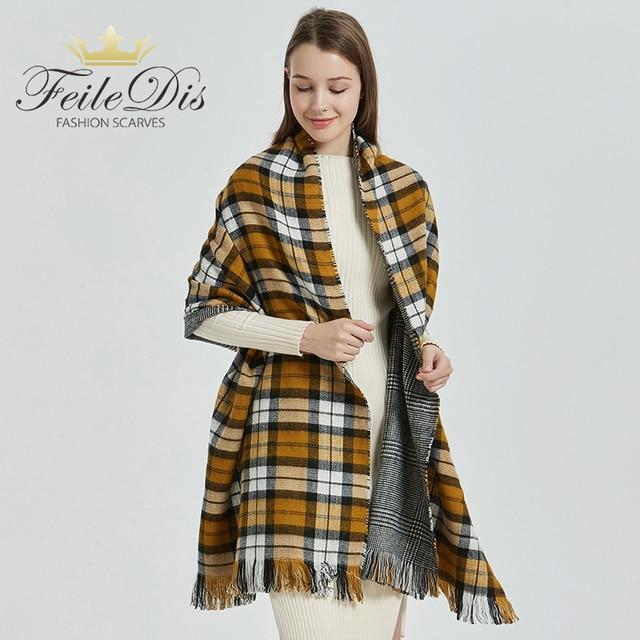 [FEILEDIS] 2020 luxury Plaid Winter Scarf Women Warm Foulard Solid Scarves Fashion Casual Scarfs Cashmere FD1001