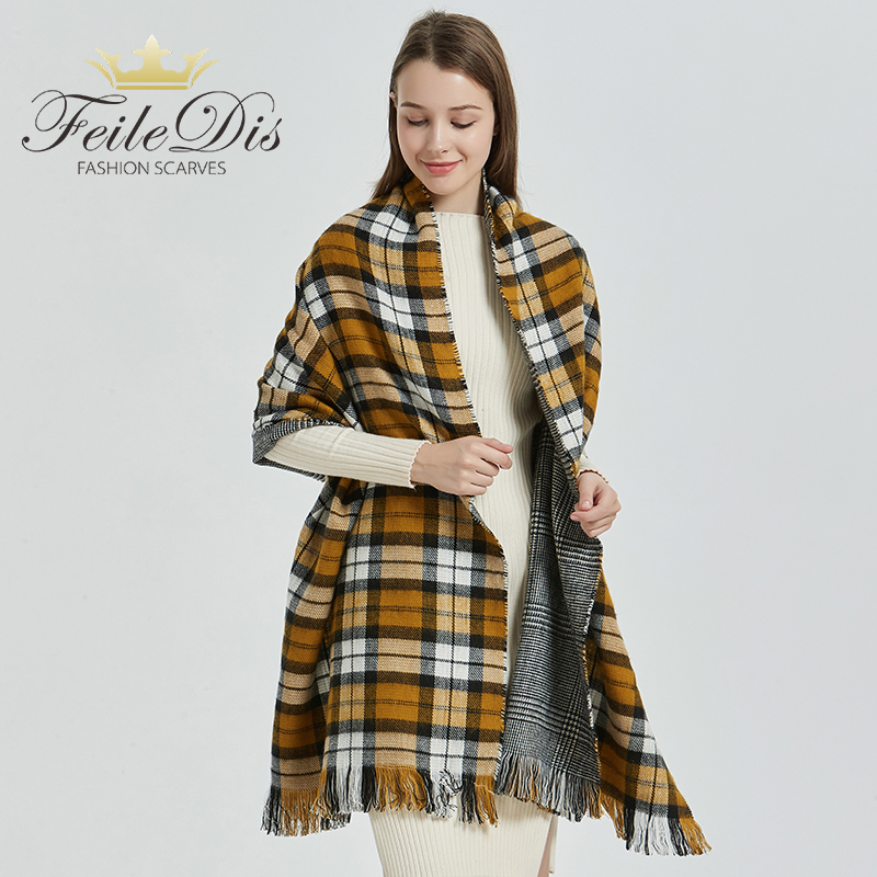 [FEILEDIS] 2020 luxury Plaid Winter Scarf Women Warm Foulard Solid Scarves Fashion Casual Scarfs Cashmere FD1001 title=