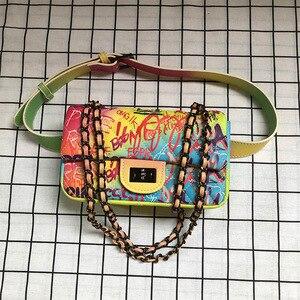 Image 4 - 26cm Medium Sized Colorful Graffiti Rainbow Bag for Women 2019 Luxury Handbags Women Bags Designer Lady Crossbody Shoulder Bags