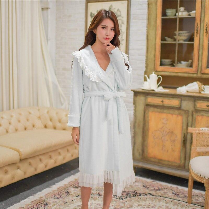 Winter Thick Warm Women's Flannel Robe Sets Vintage Princess Sleepwear Suits Loose Bathrobe 4 Colors Home Wear
