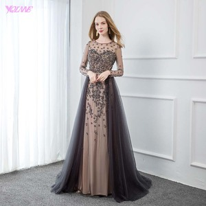 Image 1 - YQLNNE Elegant Gray Long Sleeve Evening Dress O Neck Beaded Tulle Formal Women Evening Gowns