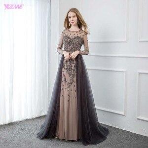 Image 1 - YQLNNE élégant gris à manches longues robe de soirée O cou perlé Tulle formel femmes robes de soirée