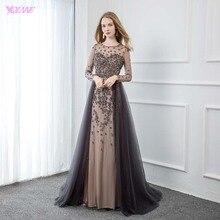YQLNNE zarif gri uzun kollu akşam elbise O boyun boncuklu tül resmi kadın abiye giyim