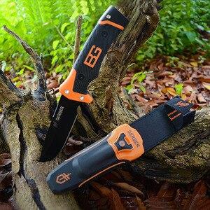 Sharp fixed Blade Hunting Straight Knife Gray Titanium Camping Survival Tactical Knife Diving Flintstones+Whistle+nylon Sheath(China)