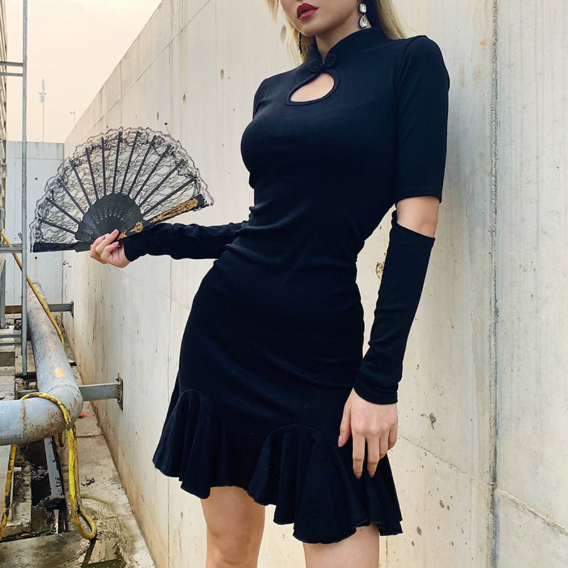 Goth Dark Black Gothic Female Dresses Hollow Out Longsleeve Ruffle Grunge Punk Women's Dress Harjauku Button Pleated Autumn 2019