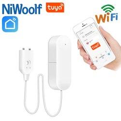 Tuya WiFi czujniki wycieku wody zawór wody czujnik kompatybilny z Tuyasmart/Smart Life APP w Czujnik i detektor od Bezpieczeństwo i ochrona na