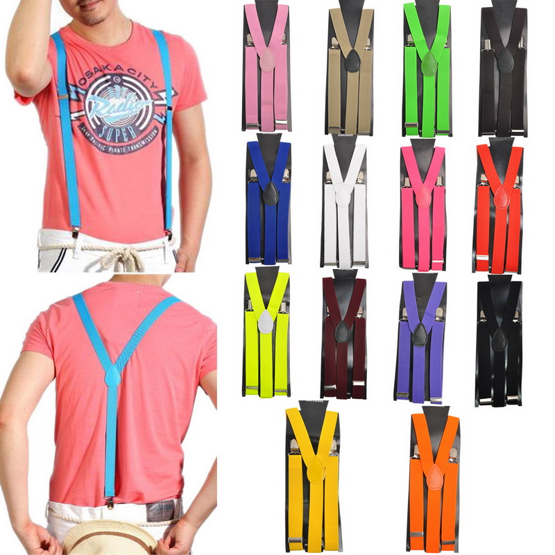 2020 Adjustable Elasticated Adult Suspender Straps Unisex Women Men Y Shape Elastic Clip-on Suspenders 3 Clip Pants Braces