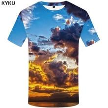KYKU Brand Galaxy T shirt Men Space T-shirts 3d Cloud Tshirts Casual Sky Shirt Print Harajuku Tshirt Printed Mens Clothing
