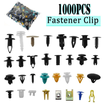 1000pcs/set Automotive Plastic Rivet Car Fender Bumper Interior Trim Push Pin Clips Kit Car Accessories With 6 Inch Tool image