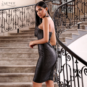 Image 5 - ADYCE 2020 Nova Verão Mulheres Vestido Bandage Vestidos Sexy Black Lace Halter Backless Bodycon Clube Vestido Midi Celebridade Vestido de Festa