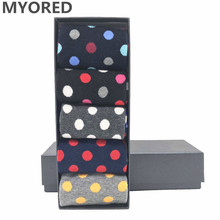 MYORED 5pairs/Lot colorful mens socks pack combed cotton dot & striped