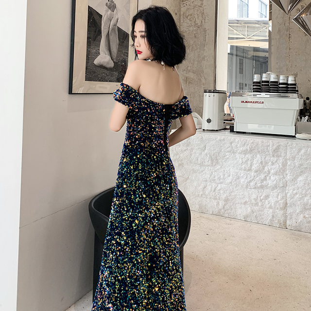 2019 New Listing Off-the-shoulder Sequin Evening Gown Long Paragraph Bridal Dress Fashion Party Temperament Elegant Prom Gowns 2