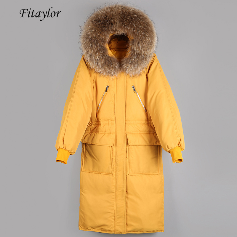 Fitaylor Women Down Jacket Warm Large Natural Fur Collar Hooded 90% White Duck Down Parkas Casual Female Thick Loose Outwear